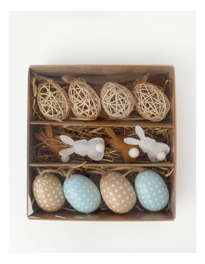 "Heritage Decorative Easter Ornament Set 12 Pack, $24.95, [Myer](https://www.myer.com.au/p/heritage-decorative-easter-ornament-set-12-pack?istCompanyId=84873db0-394f-434b-8958-29526fe5f03c&istFeedId=3dd6959f-3482-45a5-8a47-313fef9bbe16&istItemId=iapiilwaq&istBid=t&gclid=Cj0KCQjwo-aCBhC-ARIsAAkNQitG7CpN5O-dqBfUbXaSL9kR9ZLP1rYCcZU6afiqBu_KVZ2fvWRdPjwaAvggEALw_wcB&gclsrc=aw.ds|target=""_blank""|rel=""nofollow"")."