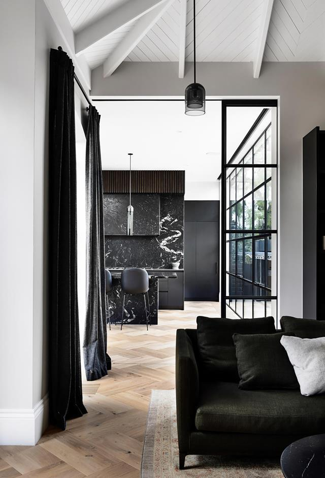 """Influences from bygone eras and forgotten trades form lasting connections in this [early 1900s home](https://www.homestolove.com.au/early-1900s-house-revamped-monochrome-palette-21872