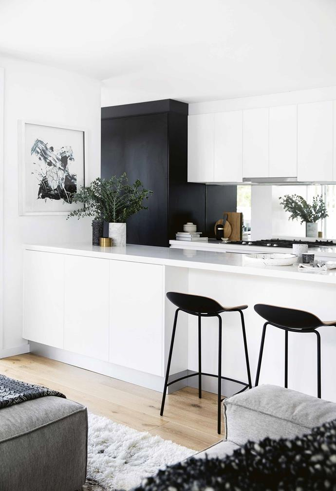 """**Monochrome magic** In this [minimalist apartment a monochrome palette](https://www.homestolove.com.au/minimalist-apartment-northern-beaches-17911