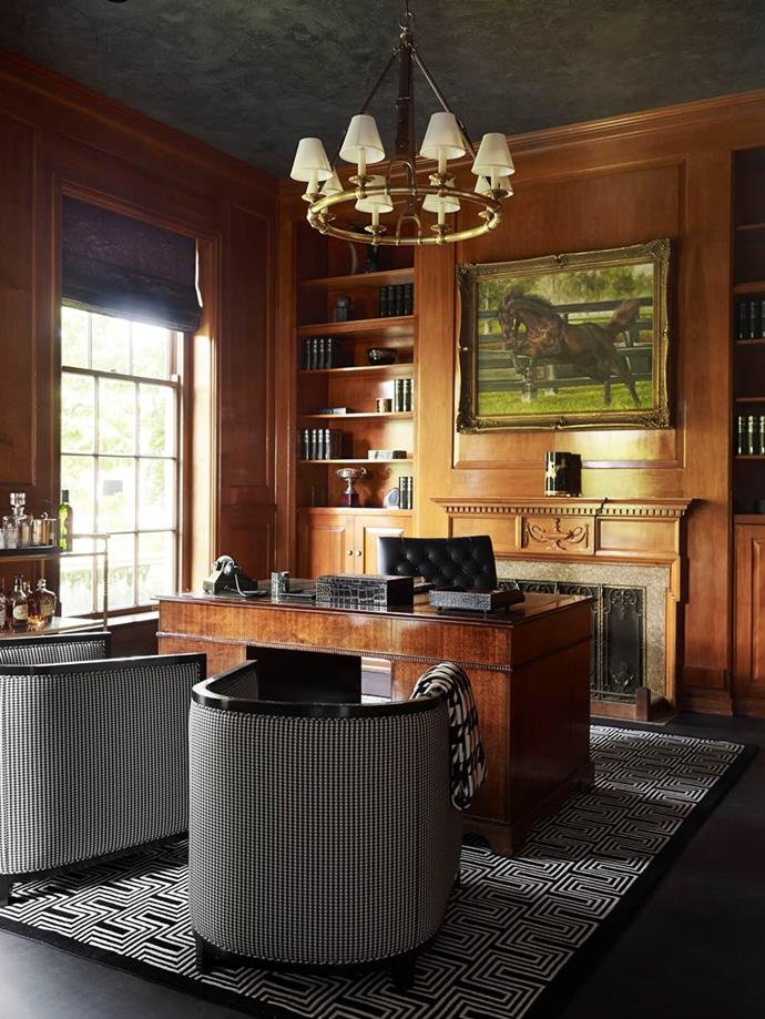 """Designer Greg Natale indulged his love of moody hues in the [sophisticated home office](https://www.homestolove.com.au/stylish-study-spaces-5563