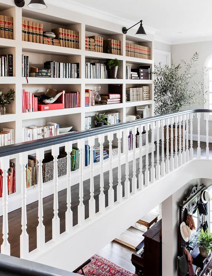 """""""These book shelves are made from Gyprock rather than joinery so they look like they are part of the wall,"""" says interior designer Lisa Burdus."""