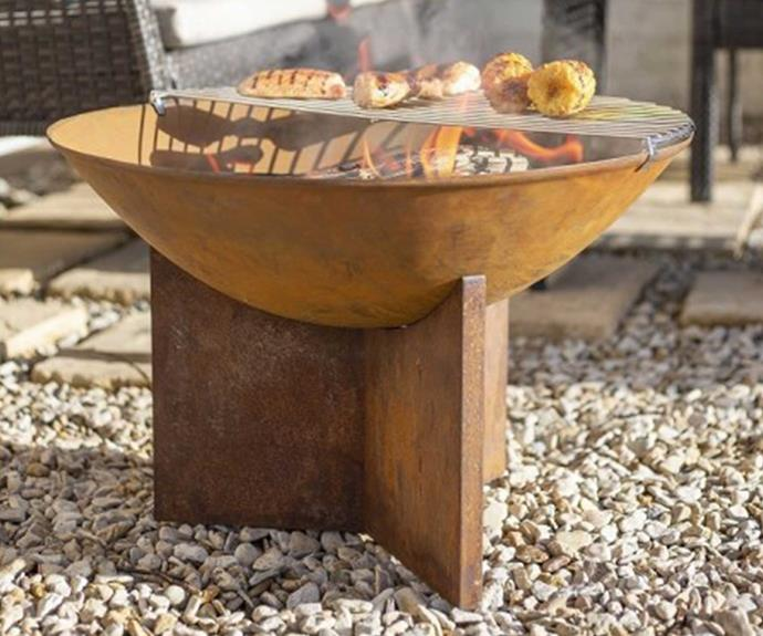 """**[Kala rustic fire pit, $99, Barbeque's Galore](https://www.barbequesgalore.com.au/kala-rustic-fire-pit-with-half-grill