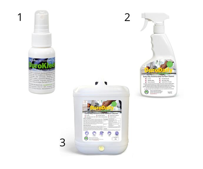 """1. [Durokleen Long-Term antimicrobial disinfectant, 50mL Travel Companion](https://go.linkby.com/RRJLOYWN/products/durokleen-60ml-travel-companion