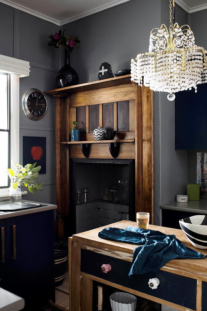 """Lydia's proudest renovation was uncovering the original fireplace in the kitchen, which a past owner had gyprocked over. """"I've kept a lot of the original features"""" of the 1940s home, she says."""