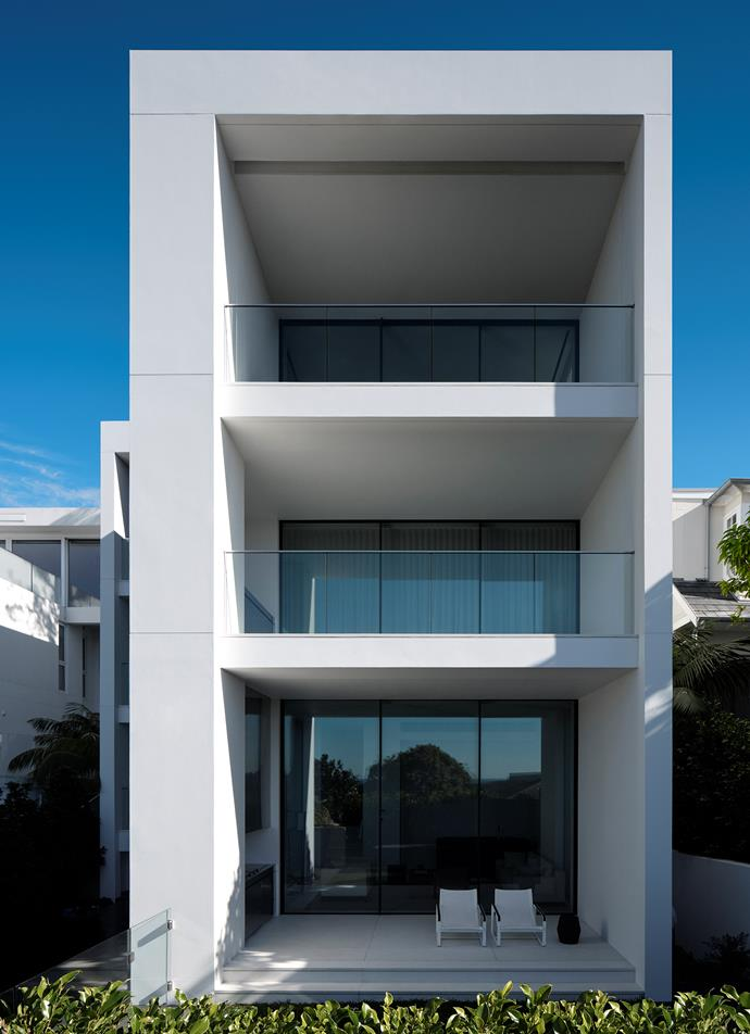 """""""The balconies to the front facade extend the spatial area of the living rooms and master bedroom and strengthen the connection to the surrounding landscape,"""" Phillip says."""