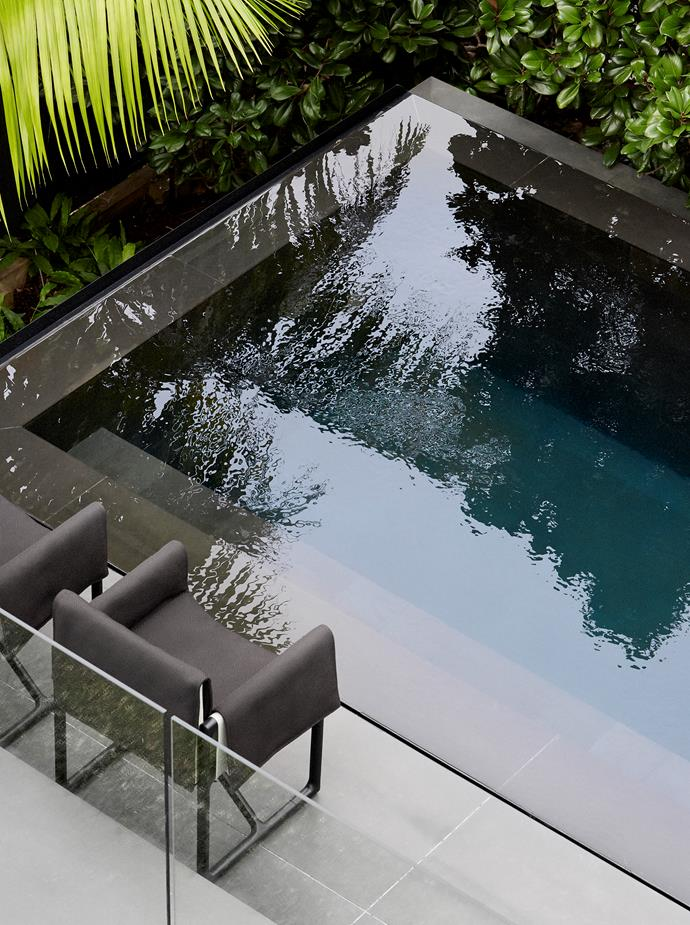 A zero-edge saltwater pool with black stone makes a sophisticated statement in the garden.