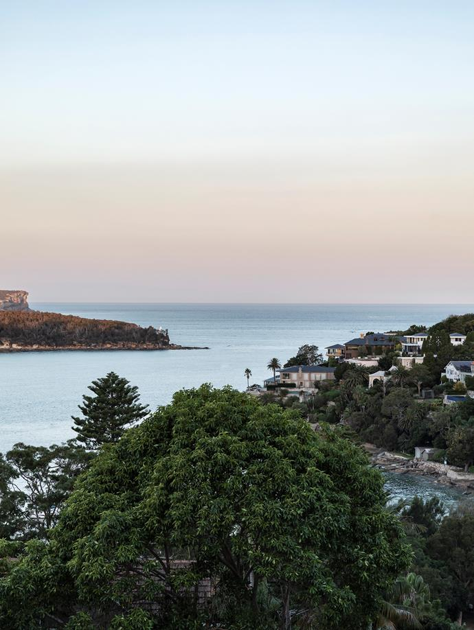 The view from this three-level family home stretches from nearby Chinamans Bay to Sydney Harbour.