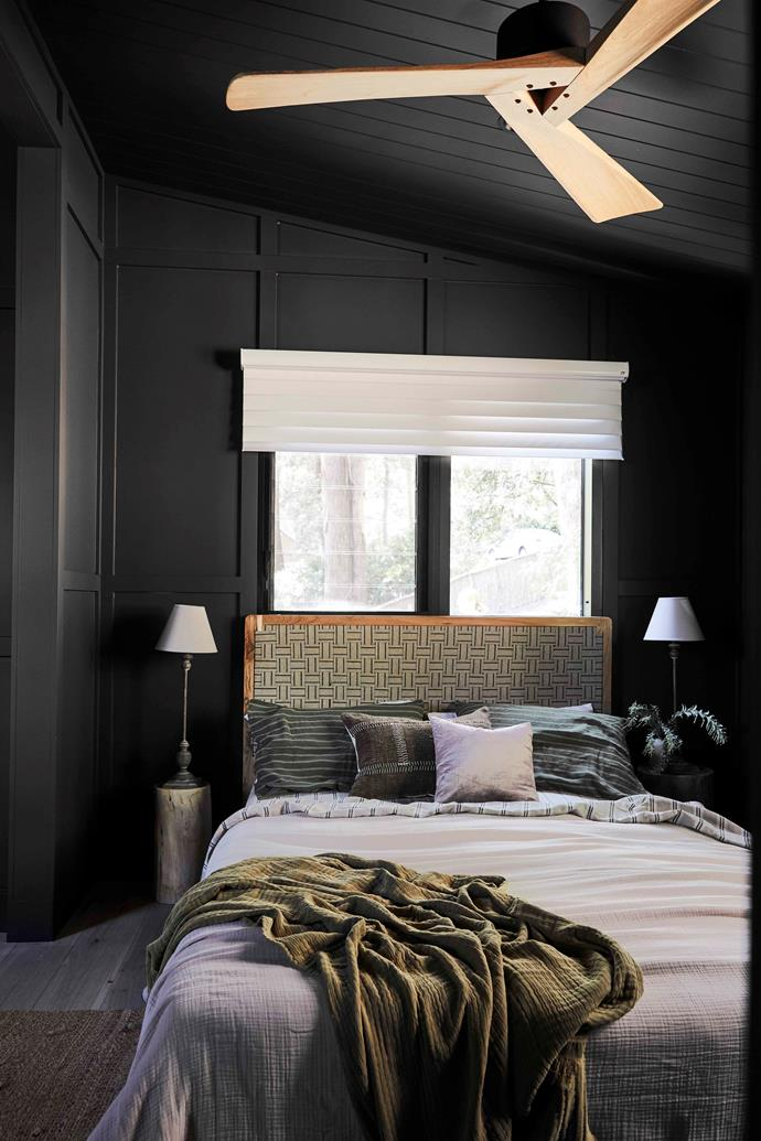 The neutral colours of the soft furnishings reference nature, and creates a sanctuary-like bedroom.