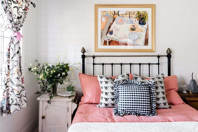 "The ""bee bedroom"" has cushions from Harold's Finishing Touches and a painting by Kiata Mason."