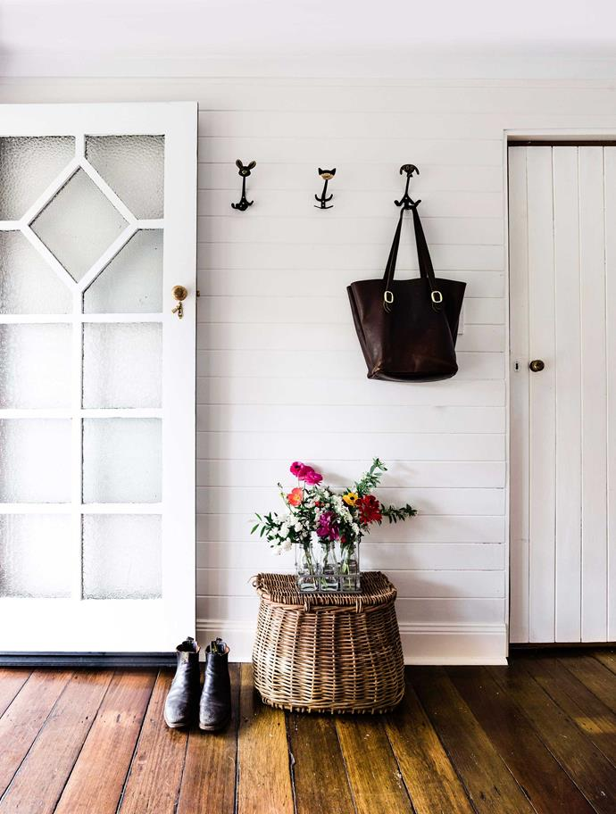 "A [Saddler & Co](https://www.homestolove.com.au/saddler-and-co-dubbo-21813|target=""_blank"") tote hangs in the [mud room](https://www.homestolove.com.au/mudroom-design-6620