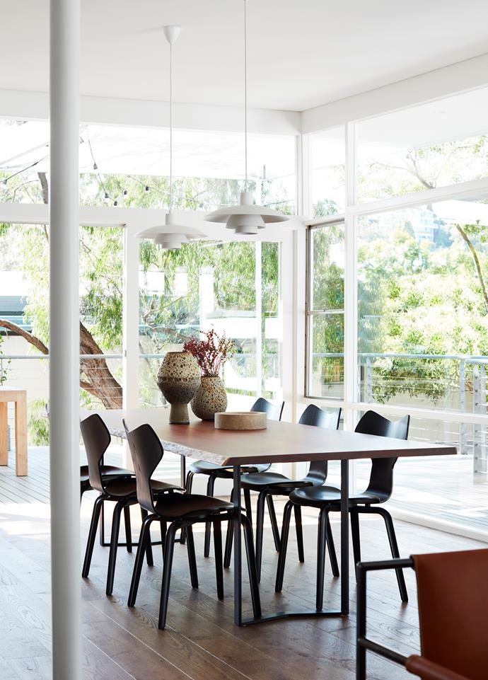 Fritz Hansen 'Grand Prix' dining chairs by Arne Jacobsen from Cult surround 