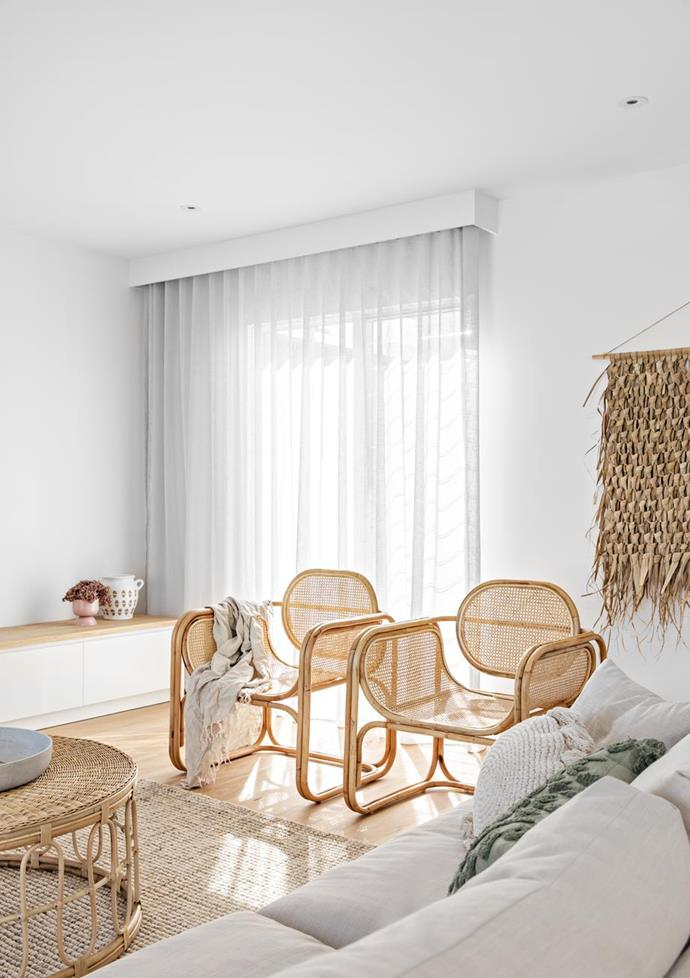 """Woven materials create harmony in the living room of this [coastal home in Newcastle](https://www.homestolove.com.au/coastal-new-build-newcastle-22209