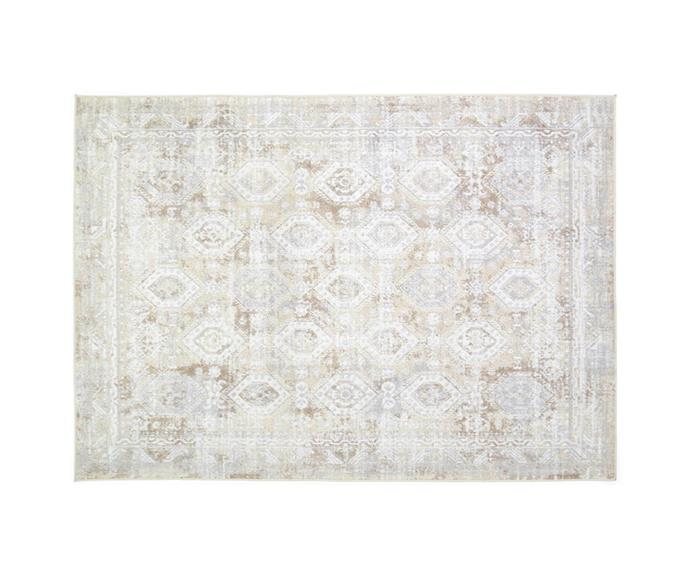 """**[Lifestyle Collection floor rug in natural, $299 (160 x 230cm), Freedom](https://www.freedom.com.au/product/24278621 target=""""_blank"""" rel=""""nofollow"""")** <br></br> This traditional rug will look right at home in a farmhouse style home. Made from hardy polypropylene, it is durable enough to withstand daily wear and tear from kids and pets."""