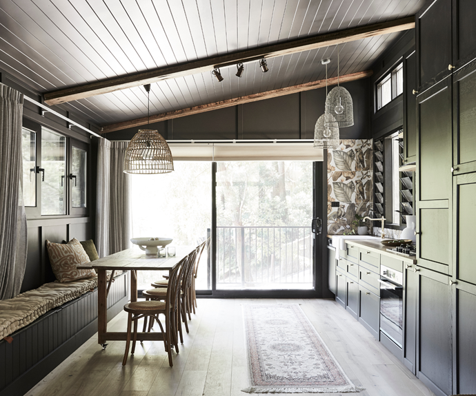 """To balance the dark palette, the windows were carefully considered. """"An advantage of building myself was being able to track how the sun moved, so I could refine window locations to capture the desired light,"""" says Saul. [Luxaflex](https://www.luxaflex.com.au/