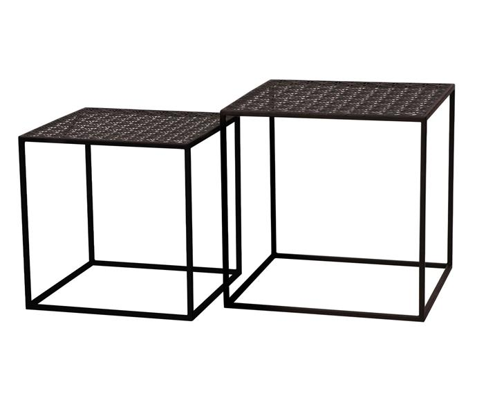 Set of two metal side tables, $49.99.