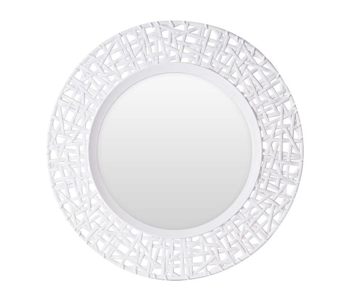Rattan-look round mirror in white, $19.99.