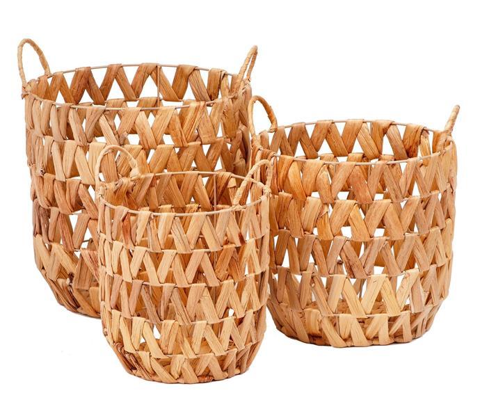 Set of three water hyacinth baskets, $29.99