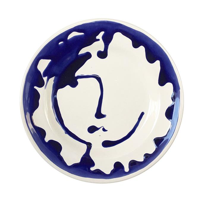 """**Ceramic Apulian Large Face Plate** in blue 30cm, $139, [Alex and Trahanas](https://alexandtrahanas.com/collections/ceramics/products/apulian-large-face-plate-blue-30cm