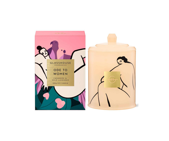 """**Ode to Women Triple Scented Soy Candle** 380g, $54.95, [Glasshouse Fragrances](https://www.glasshousefragrances.com/products/ode-to-women?variant=39260003369044&utm_source=CommissionFactory&utm_medium=Text+Link&utm_content=&utm_campaign=Glasshouse+Fragrances&cfclick=9c8d59730b70460a90c0faa8914b3a4e