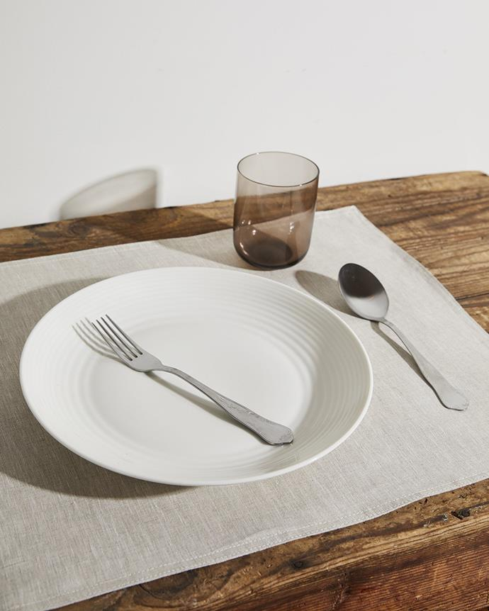 """**100% Linen Placemats in Oatmeal** (Set of Four), $60, [Bed Threads](https://bedthreads.com.au/products/100-linen-placemat-set-in-oatmeal?variant=34859112628358&dfw_tracker=62795-34859112628358&gclid=Cj0KCQjwsLWDBhCmARIsAPSL3_0XYj-UUevin75ifAUWYqZKdtgh0cspzHy_Z_Jb9sz5jy-GX67GO68aAvh8EALw_wcB