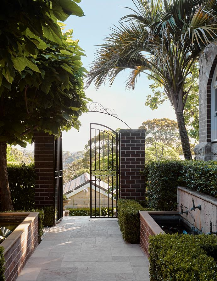 The gated front entry to this early 1900s home has views across Sydney Harbour.