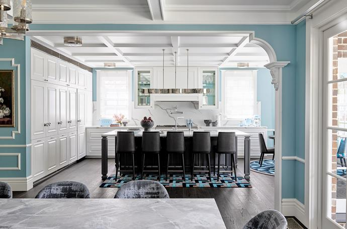 Kelly Wearstler for Visual Comfort 'Avant 5' pendant light, Bloomingdales Lighting. Calacutta Primo Quartz splashback and benchtops, Designer Stone. Mixer tap, Astra Walker. Pot filler tap, In Residence. Stools, Greg Natale. Oven and cooktop, Winning Appliances. Small appliances, all Smeg, available from Harvey Norman.  Waikiki rug, Greg Natale for Designer Rugs.
