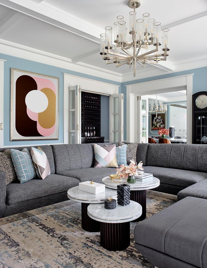 Sofa, coffee tables, and Emilio print, all Greg Natale. Aegean rug, Designer Rugs.