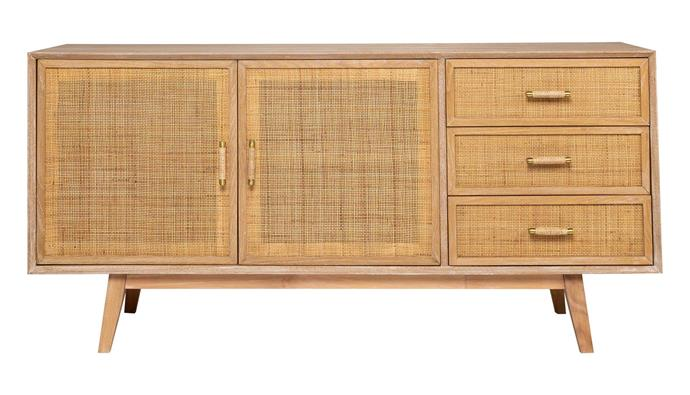 "Callum timber and rattan buffet, $1699, [Freedom](https://www.freedom.com.au/|target=""_blank""