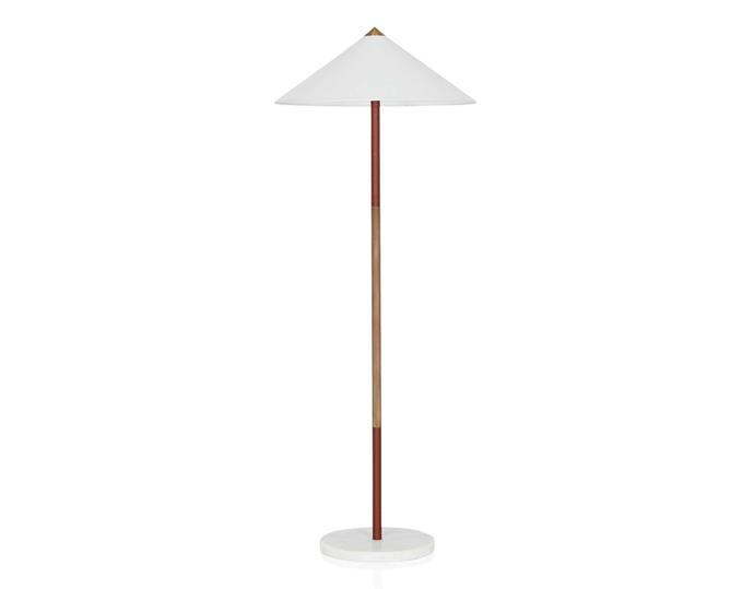 "Tao leather floor lamp, $995, [Coco Republic](https://www.cocorepublic.com.au/|target=""_blank""|rel=""nofollow"")."