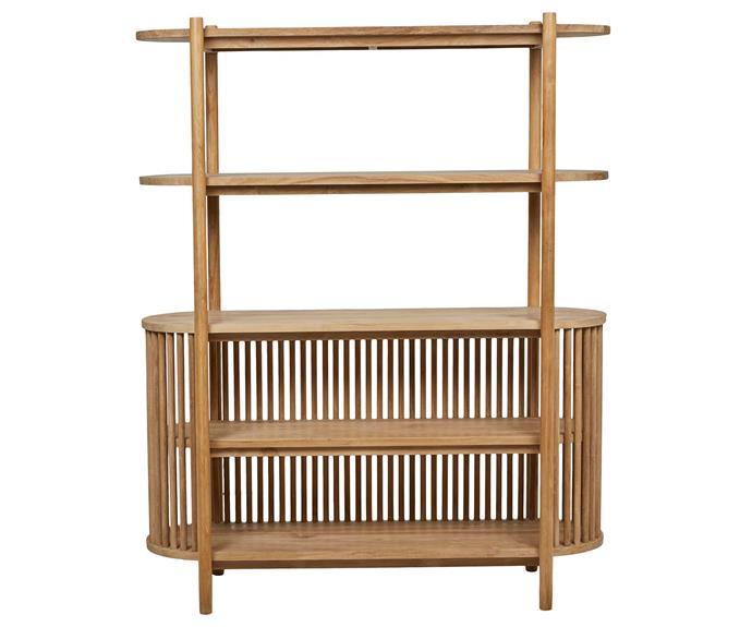 "Tully bookcase in Natural Teak, $4145, [GlobeWest](https://www.globewest.com.au/|target=""_blank""|rel=""nofollow"")."