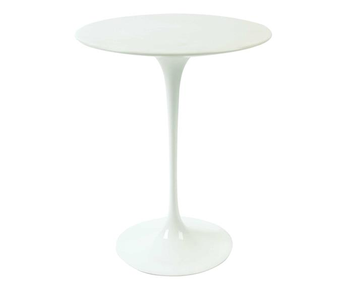 "Knoll 'Saarinen Tulip' side table with Brown Emperador marble top, $2995, [Dedece](https://dedece.com/|target=""_blank""|rel=""nofollow"")."
