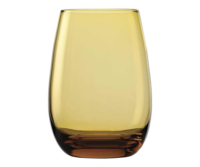 "Amber drinking glass, $89 for set of six, [Montmartre Store](https://www.montmartrestore.com.au/|target=""_blank""