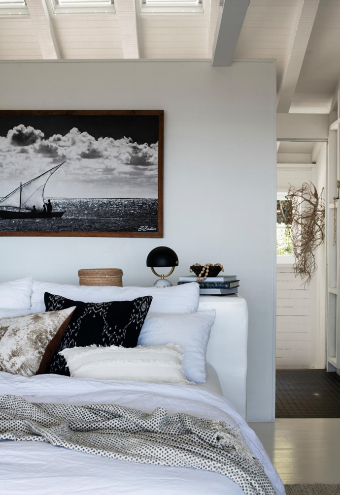 Leilah cushions mirror the moody sky in an Africanologie print above the bed (which is strewn with a Portia cotton throw and 'Lila' linen bathrobe, both from Papaya).