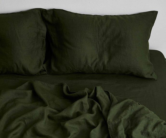"""**Olive 100% Flax Linen Bedding Set, from $230, [Bed Threads](https://bedthreads.com.au/collections/bedding-sets/products/olive-flax-linen-bedding-set?variant=34933947826310