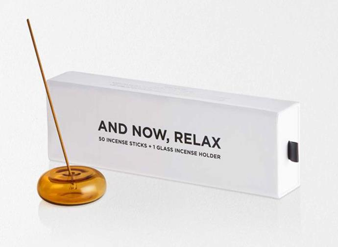 """**Maison Balzac And Now Relax Incense Set in Amber, $65, [Aura Home](https://www.aurahome.com.au/maison-balzac-and-now-relax-incense-set-amber