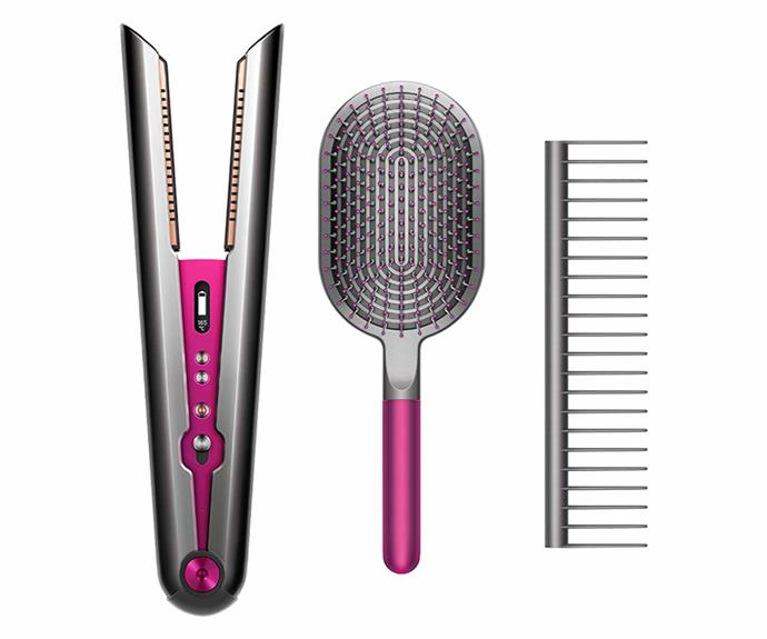 """**Dyson Corrale straightener with Styling Set, $699, [Dyson](https://www.dyson.com.au/dyson-corrale-straightener-black-nickel-fuchsia-styling-set