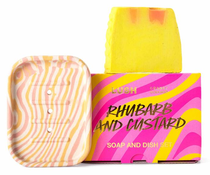 """**Rhubarb and Custard Soap and Dish Set, $28, [Lush](https://au.lush.com/products/mothers-day-gifts/rhubarb-and-custard-soap-and-dish-set