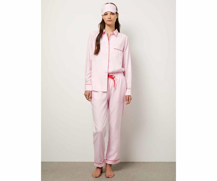 """**The Scarlett Pyjama Set, $189, [Wanderluxe](https://wanderluxesleepwear.com/product/the-scarlett-pyjama-set/