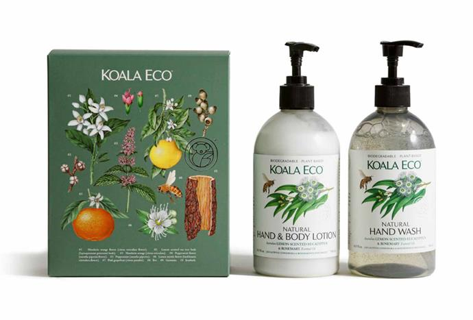 """**Lemon Scented Eucalyptus and Rosemary Gift Set, $35.06, [Koala Eco](https://koala.eco/collections/gift-collection/products/gift-collection-lemon-scented-eucalyptus-rosemary