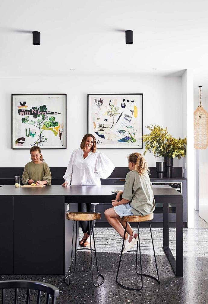 "**Kitchen** Black Dekton Domoos benchtops by [Cosentino](https://www.cosentino.com/en-au/|target=""_blank""|rel=""nofollow"") complement the fuss-free dark concrete floor. Appliances, [Miele](https://www.miele.com.au/|target=""_blank""|rel=""nofollow""). Artworks by Georgie Wilson."