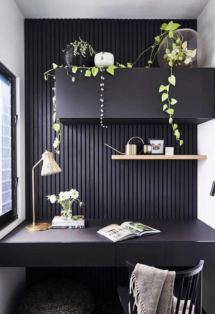 """**Office** One open and one enclosed shelf strike the perfect balance. Bench (as in kitchen). Timber panelling, [Glosswood](https://www.glosswood.com.au/