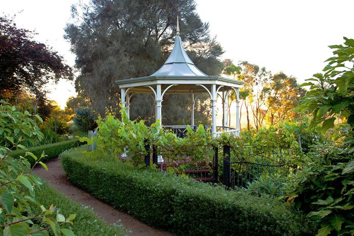 The pavilion, a favourite spot for morning coffee, overlooks the olive gfrove to the south of the garden.