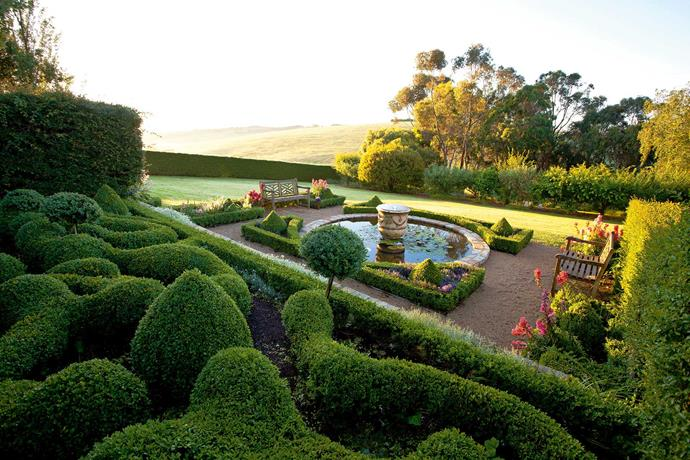 Cloud-pruned box hedges are a sculptured backdrop for a lily pond with a French Anduze vase as its centrepiece.