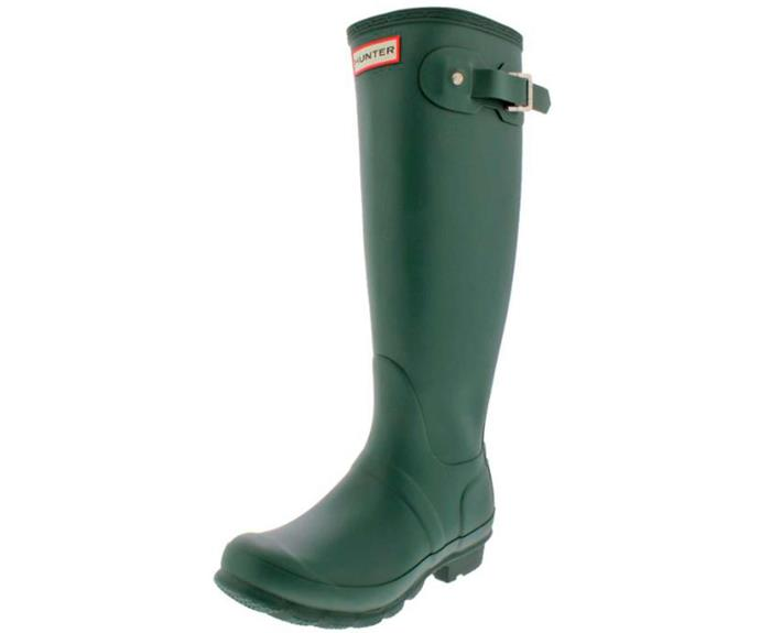 """**Hunter Women's Rain Boots in Hunter Green, $139.85, [Catch](https://www.catch.com.au/product/hunter-womens-boots-rain-boots-hunter-green-4762423