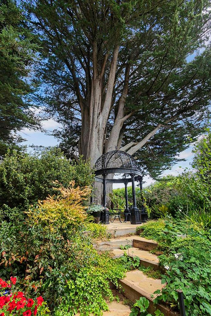 There are many places to sit, reflect and admire the scenery in the garden at Musk Farm.