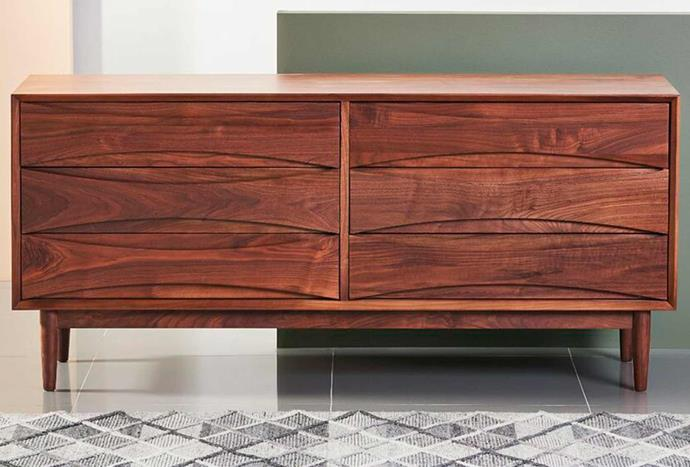 """**Arne 6 Drawer Chest in Solid Walnut, from $3999, [Icon By Design](https://www.iconbydesign.com.au/Arne-6-Drawer-Chest-Solid-Walnut-158x45x72cm