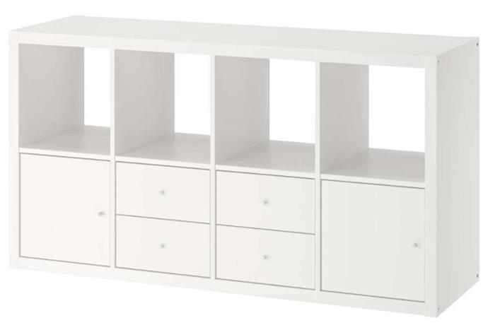 """**KALLAX with inserts, $165, [IKEA](https://www.ikea.com/au/en/p/kallax-shelving-unit-with-4-inserts-white-s39278308/