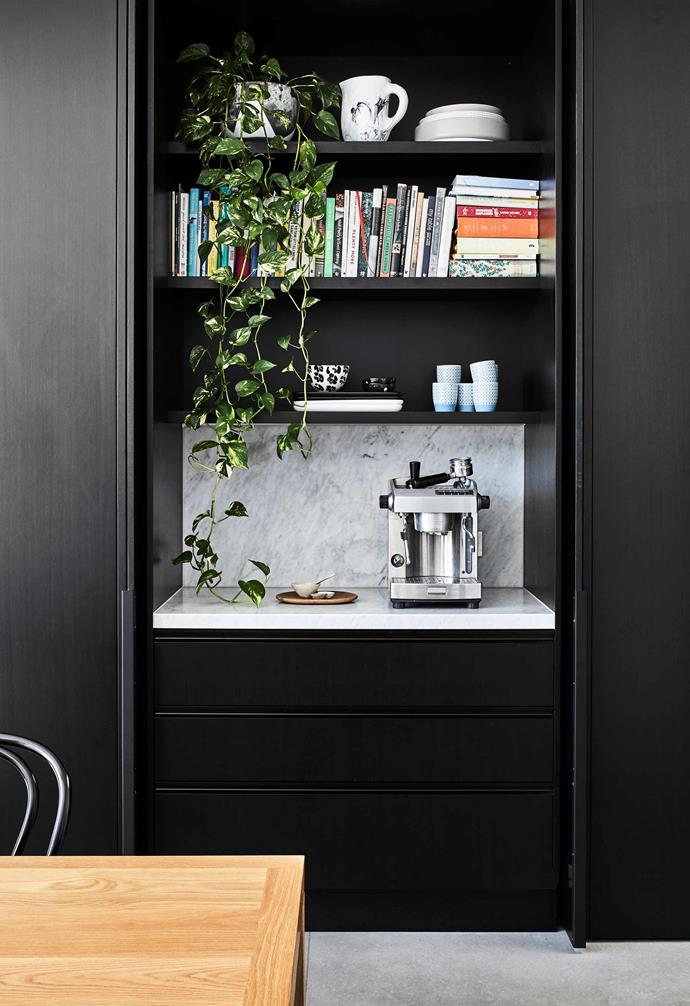 **Breakfast bar** Opening the 2.7m-high, timber-veneer doors reveals this hidden gem and other great storage spaces, such as a handy appliance unit and a walk-in pantry with soft-closing sliding door.