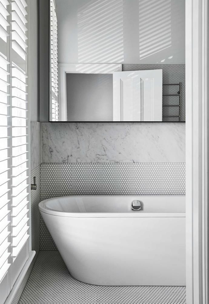 """**Bathroom** Light comes through the shutters and is bounced around the room. Kaldewei 'Classic Duo' bath, [Bathe](https://www.bathe.net.au/