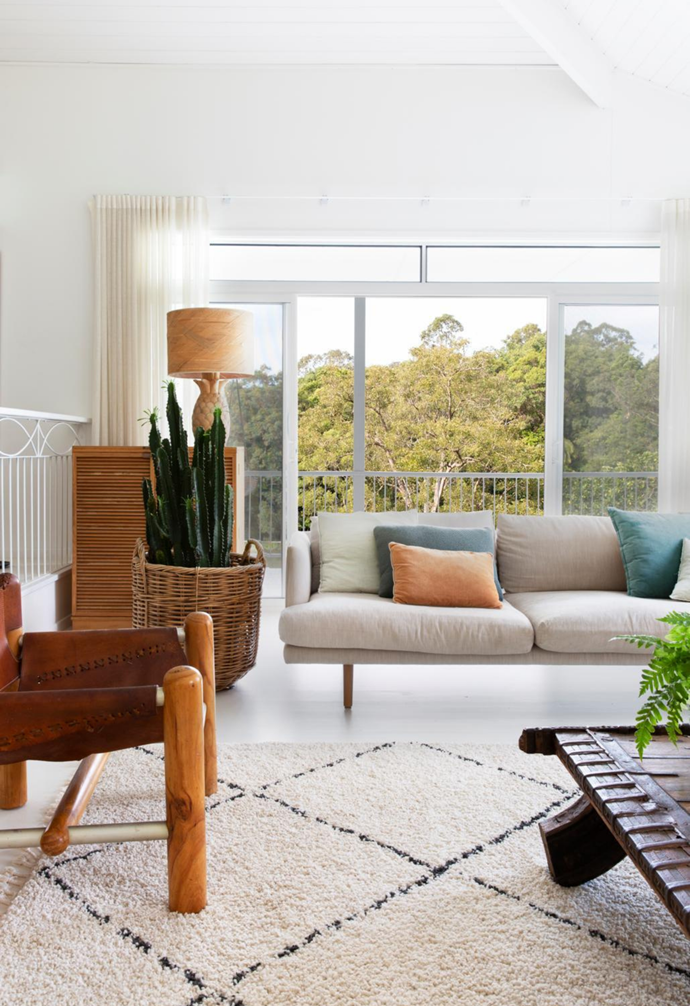 One of the big selling points was the home's open living area, with soaring Tasmanian oak ceilings. The house is filled with Jardan furniture, such as the 'Nook' sofa that sits alongside the '70s leather slingbacks – try Fenton & Fenton